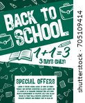 back to school special offer... | Shutterstock .eps vector #705109414