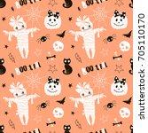 happy halloween pattern | Shutterstock .eps vector #705110170