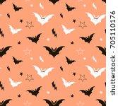 happy halloween pattern | Shutterstock .eps vector #705110176
