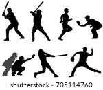 baseball silhouettes collection ... | Shutterstock .eps vector #705114760