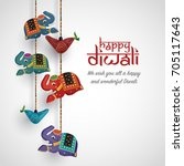 diwali festival background.... | Shutterstock .eps vector #705117643
