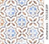 watercolor oriental moroccan... | Shutterstock .eps vector #705118189