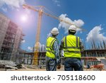 civil engineer checking work... | Shutterstock . vector #705118600