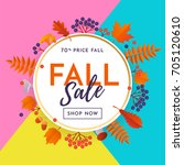 fall sale poster discount text... | Shutterstock .eps vector #705120610
