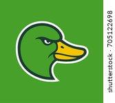 Mallard Duck Head Icon  Comic...