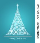christmas tree from snowflakes | Shutterstock . vector #705123760