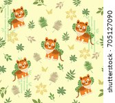 seamless pattern with a tiger... | Shutterstock .eps vector #705127090