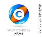 realistic letter c logo symbol... | Shutterstock . vector #705127306