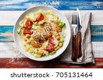 caesar salad with chicken... | Shutterstock . vector #705131464