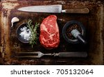 raw fresh marbled meat steak... | Shutterstock . vector #705132064