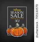 black poster for season sale.... | Shutterstock .eps vector #705133570