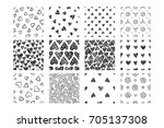 set of hand drawn seamless... | Shutterstock .eps vector #705137308