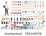 delivery man creation set or... | Shutterstock .eps vector #705140578