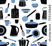 seamless pattern with black and ... | Shutterstock .eps vector #705140668