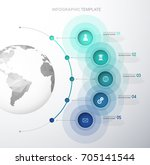 infographic template with five... | Shutterstock .eps vector #705141544