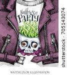 watercolor fun illustration....   Shutterstock . vector #705143074