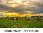 wind generators turbines at... | Shutterstock . vector #705146008