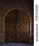 old wooden closed door | Shutterstock . vector #705151030
