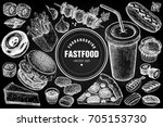 fast food and drink set. burger ... | Shutterstock .eps vector #705153730