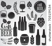 beer icon set isolated on white ... | Shutterstock .eps vector #705159154