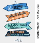 signboard on a beach concept.... | Shutterstock .eps vector #705159253