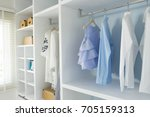 walk  in closet with cloth and... | Shutterstock . vector #705159313