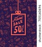 autumn leaves doodle sale... | Shutterstock .eps vector #705160696