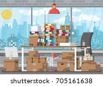 pile of paper documents and... | Shutterstock .eps vector #705161638