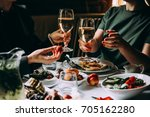 dinner with friends of family... | Shutterstock . vector #705162280
