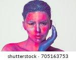 body art woman face portrait ... | Shutterstock . vector #705163753