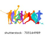 sports games and athletes  3d... | Shutterstock . vector #705164989