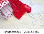 red lace pants  menstrual... | Shutterstock . vector #705166453