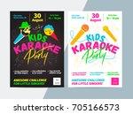 kids karaoke party flyer with... | Shutterstock .eps vector #705166573