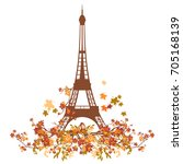 eiffel tower and small bird... | Shutterstock .eps vector #705168139