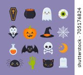flat halloween icons with... | Shutterstock .eps vector #705176824