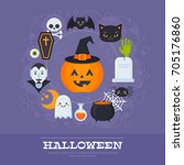flat halloween banners with... | Shutterstock .eps vector #705176860