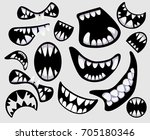 set with different monster's... | Shutterstock .eps vector #705180346
