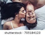 close up of happy couple is... | Shutterstock . vector #705184123