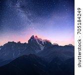 fantastic starry sky. autumn... | Shutterstock . vector #705184249