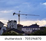 construction crane against the... | Shutterstock . vector #705196870