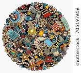cartoon vector doodles cinema...   Shutterstock .eps vector #705197656