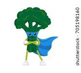 vector flat cartoon broccoli... | Shutterstock .eps vector #705198160