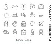 doodle health and fitness icons.... | Shutterstock .eps vector #705199000