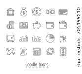 doodle financial icons. hand... | Shutterstock .eps vector #705199210