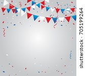 red and blue white confetti and ... | Shutterstock .eps vector #705199264