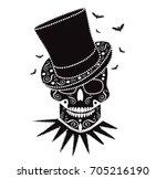 happy halloween skull with... | Shutterstock .eps vector #705216190