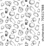 hand drawn pattern with kitchen ... | Shutterstock .eps vector #705217888