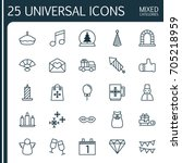 holiday icons set. collection... | Shutterstock .eps vector #705218959