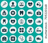 medicine icons set. collection... | Shutterstock .eps vector #705220168