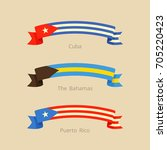 ribbon with flag of cuba  the... | Shutterstock .eps vector #705220423